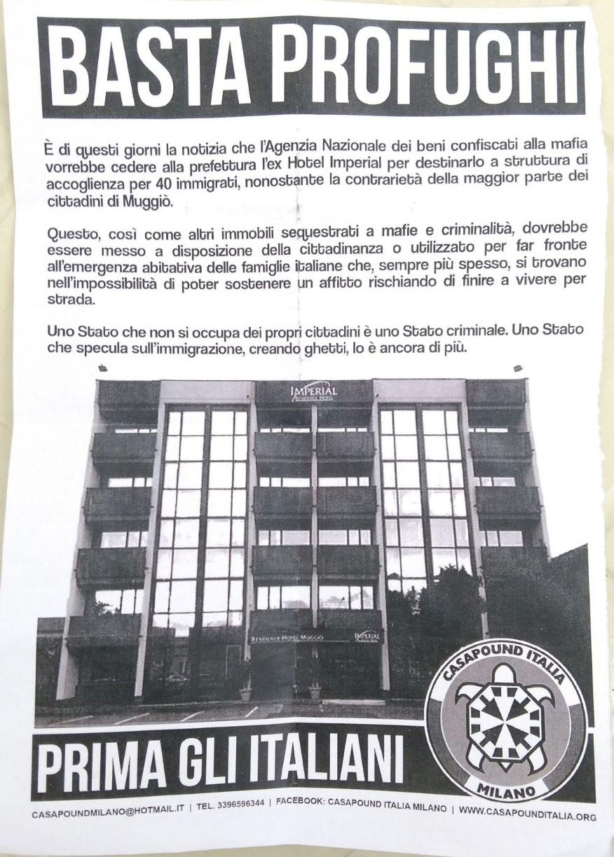 31b65200aa64ba Di seguito: Il volantino che è stato distribuito da CasaPound, la bacheca  del PD locale imbrattata e il comunicato dell'ANPI di Muggiò.